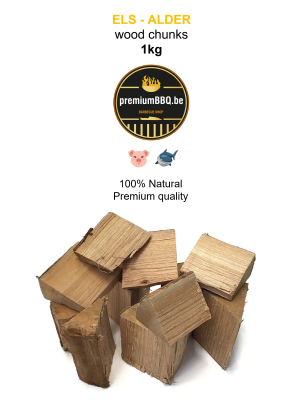 PremiumBBQ Wood Chunks - Els / Alder 1.0kg