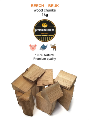 PremiumBBQ Wood Chunks - Beuk / Beech 1.0kg